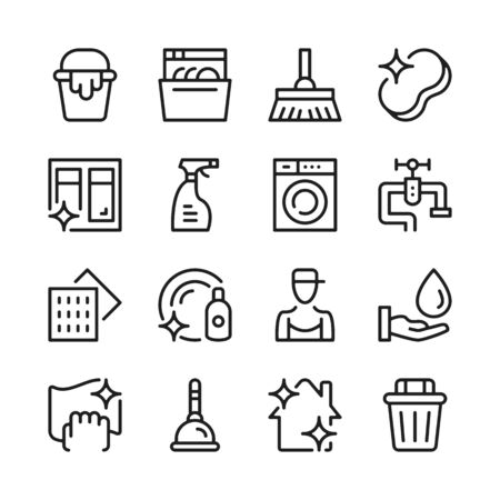 Cleaning line icons set. Modern linear graphic design concepts, simple outline elements collection. Vector line icons