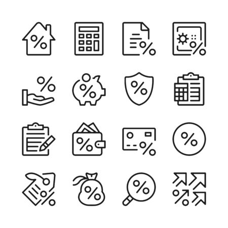 Loan line icons set. Credit, interest rate, investing. Modern linear graphic design concepts, simple outline elements collection. Vector line icons 写真素材 - 127394107