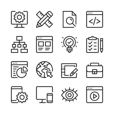 Web development line icons set. Modern linear graphic design concepts, simple outline elements collection. Vector line icons