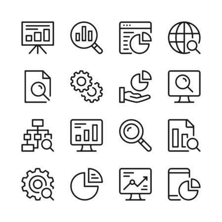 Data analysis line icons set. Modern linear graphic design concepts, simple outline elements collection. Vector line icons  イラスト・ベクター素材
