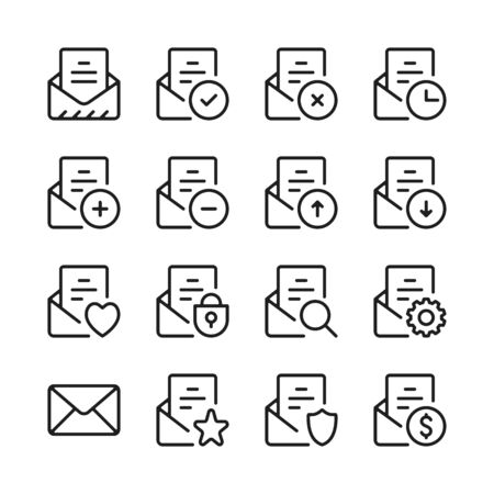Email line icons set. E-mail interface, mail app, UI, letter. Modern linear graphic design concepts, simple outline elements collection. Vector line icons  イラスト・ベクター素材