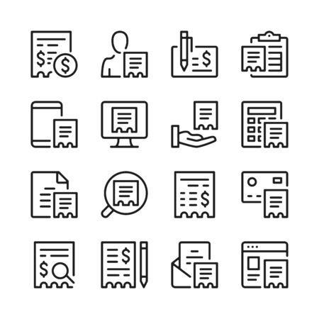Receipt line icons set. Bill, check, invoice, ticket symbols. Modern linear graphic design concepts, simple outline elements collection. Vector line icons 写真素材 - 127394111