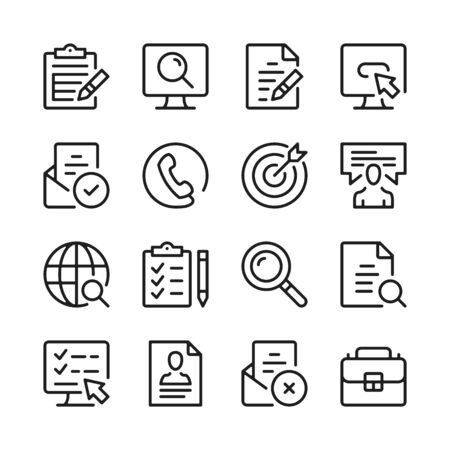 Job search line icons set. Find job, vacancy, employment, career opportunities symbols. Modern linear graphic design concepts, simple outline elements collection. Vector line icons 写真素材 - 127394112