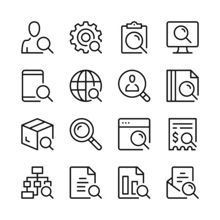 Search line icons set. Modern linear graphic design concepts, simple outline elements collection. Vector line icons 写真素材 - 127394113
