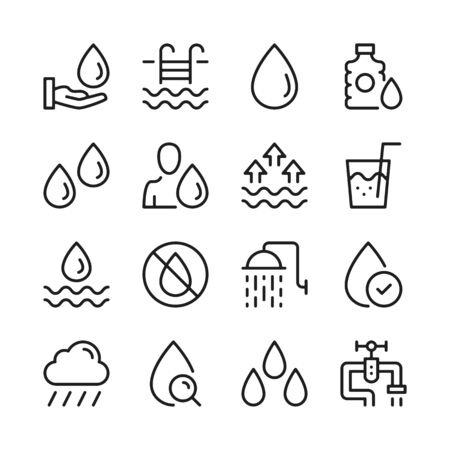 Water line icons set. Modern linear graphic design concepts, simple outline elements collection. Vector line icons 写真素材 - 127394114
