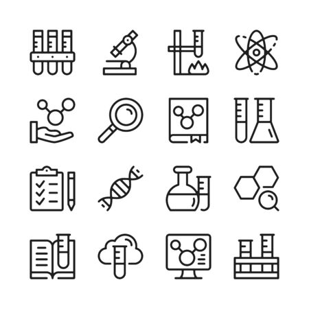 Chemistry line icons set. Modern linear graphic design concepts, simple outline elements collection. Vector line icons