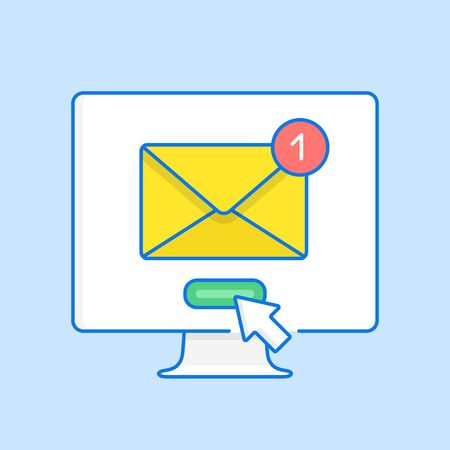 Email notification on computer screen. Receiving new message, unread e-mail notification. Hand drawn style, line design. Vector illustration Ilustração