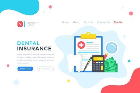 Dental insurance. Health plan, medical care, healthcare concept. Modern flat design graphic elements for web banner, landing page template, website. Vector illustration Illustration