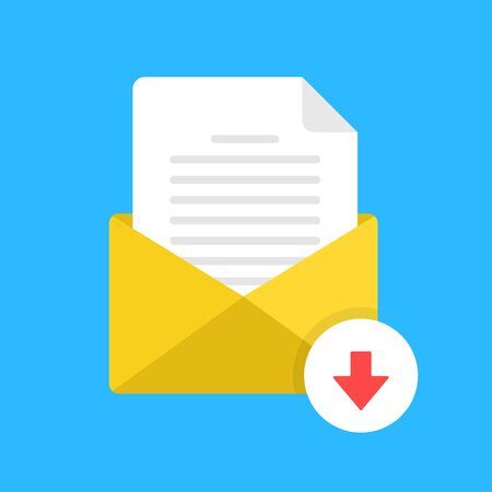 Download email attachment. E-mail with document and down arrow button. Receive computer file. Modern flat design. Vector icon