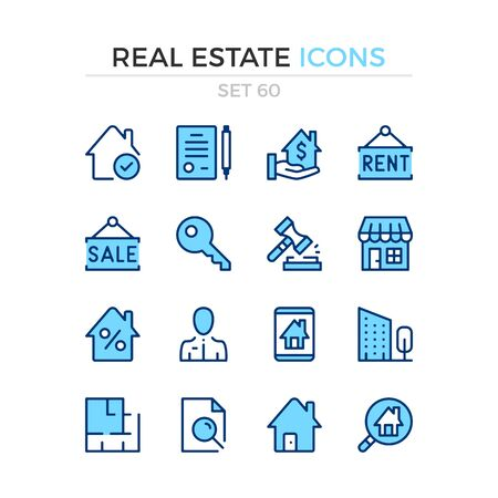 Real estate icons. Vector line icons set. Premium quality. Simple thin line design. Modern outline symbols collection, pictograms.  イラスト・ベクター素材