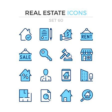 Real estate icons. Vector line icons set. Premium quality. Simple thin line design. Modern outline symbols collection, pictograms. Illusztráció