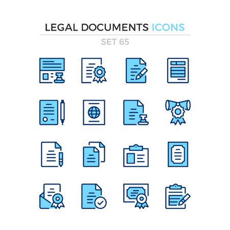 Legal documents icons. Vector line icons set. Premium quality. Simple thin line design. Modern outline symbols collection, pictograms.
