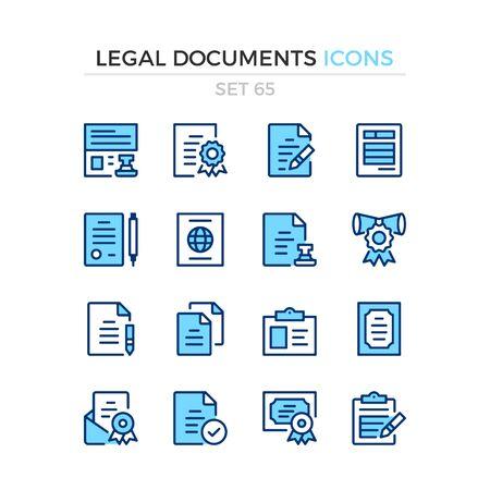 Legal documents icons. Vector line icons set. Premium quality. Simple thin line design. Modern outline symbols collection, pictograms. Stok Fotoğraf - 129881792