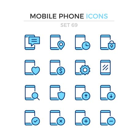 Mobile phone icons. Vector line icons set. Premium quality. Simple thin line design. Modern outline symbols collection, pictograms.
