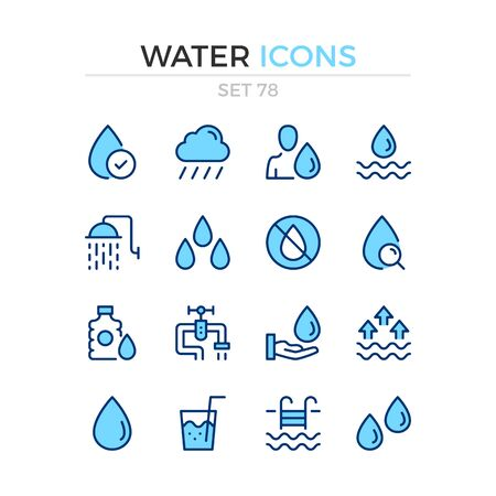 Water icons. Vector line icons set. Premium quality. Simple thin line design. Modern outline symbols collection, pictograms. Çizim