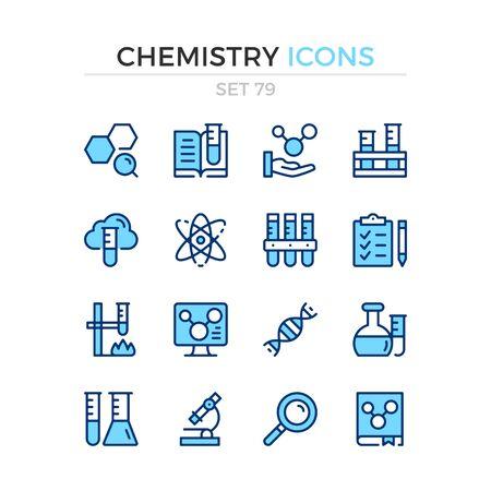 Chemistry icons. Vector line icons set. Premium quality. Simple thin line design. Modern outline symbols collection, pictograms. Illusztráció