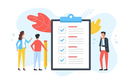 Checklist. Group of people and clipboard with check list and checkmarks. Business plan, marketing strategy, survey, complete tasks, teamwork success concepts. Modern flat design. Vector illustration 일러스트