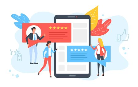 Customer reviews. People rate, comment, recommend and give 5 stars. Positive feedback, client satisfaction concepts. Mobile phone with testimonials on screen. Modern flat design. Vector illustration
