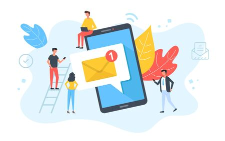 People and email message on mobile phone. Online messaging, social media, phone notification, business technology concepts. E-mail letter on smartphone screen. Modern flat design. Vector illustration