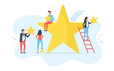 Customer satisfaction, client choice, rating stars, feedback concepts. People holding yellow stars. Modern flat design. Vector illustration 일러스트