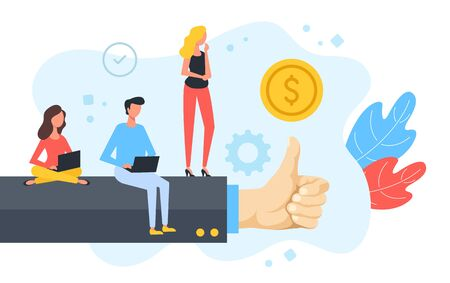 Business success, good job, positive evaluation. Group of people standing and sitting with laptops on human hand with thumbs up gesture. Like concept. Modern flat design. Vector illustration Vector Illustratie