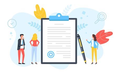 Sign a document. Contract, agreement, signature, application form, business deal concepts. People standing around clipboard with document with stamp and pen. Modern flat design. Vector illustration