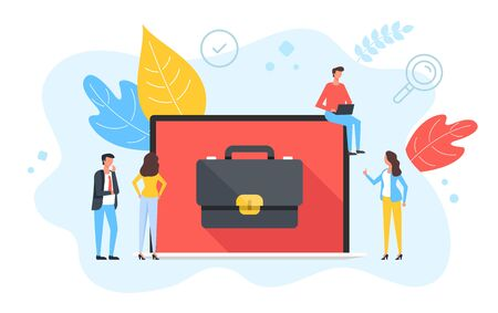 People and laptop with briefcase on screen. Employment, human resources, find job, business portfolio, office work concepts. Modern flat design. Vector illustration Illustration