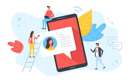 Texting, chatting, online messaging, sms concepts. People and mobile phone with speech bubble message. Modern flat design. Vector illustration Çizim