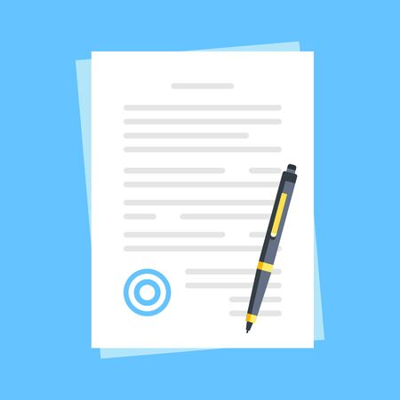 Document with stamp and pen. Sign a document. Flat design. Vector illustration