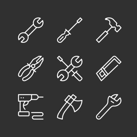 Set of tools icons. Modern simple outline symbols collection. Vector line icons