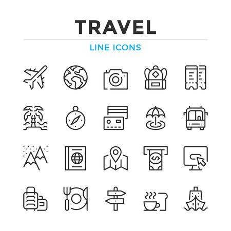 Travel line icons set. Modern outline elements, graphic design concepts, simple symbols collection. Vector line icons