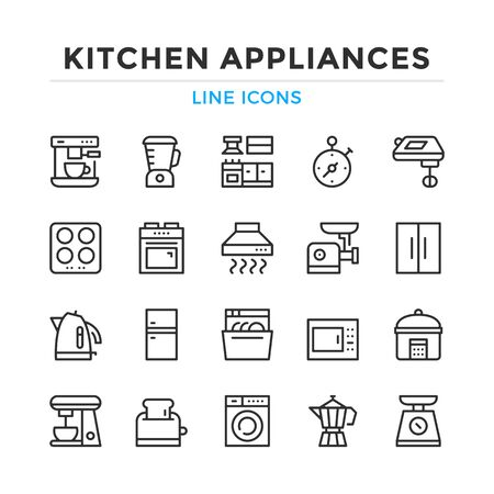 Kitchen appliances line icons set. Modern outline elements, graphic design concepts, simple symbols collection. Vector line icons