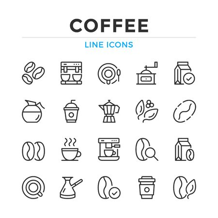 Coffee line icons set. Modern outline elements, graphic design concepts, simple symbols collection. Vector line icons