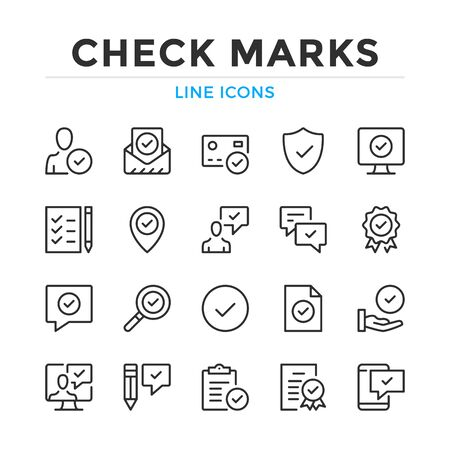 Check marks line icons set. Modern outline elements, graphic design concepts, simple symbols collection. Vector line icons