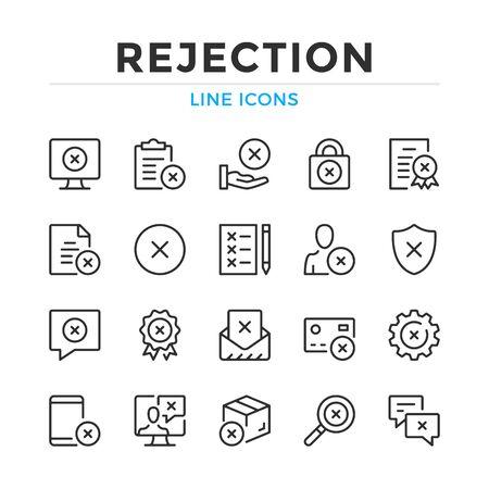 Rejection line icons set. Modern outline elements, graphic design concepts, simple symbols collection. Vector line icons