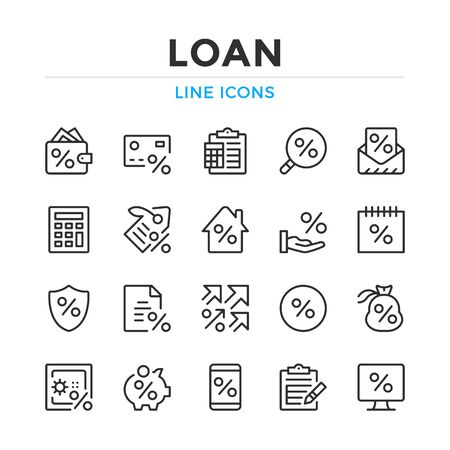 Loan line icons set. Modern outline elements, graphic design concepts, simple symbols collection. Vector line icons Illustration