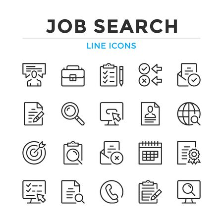 Job search line icons set. Modern outline elements, graphic design concepts, simple symbols collection. Vector line icons