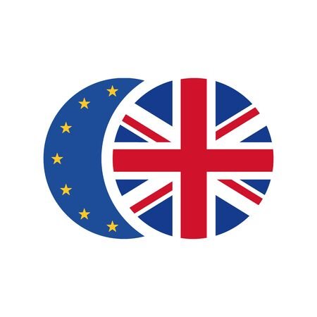 United Kingdom flag and European Union flag. Brexit concept. Vector icon isolated on white background