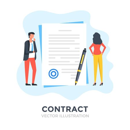 Contract. Flat design. Agreement, business document, deal, financial application, job interview concepts. Vector illustration Ilustracja