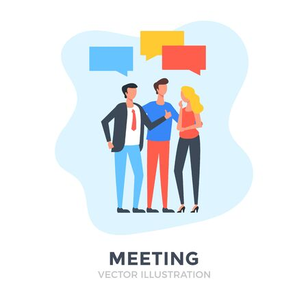 Meeting. Flat design. Business people. Vector illustration