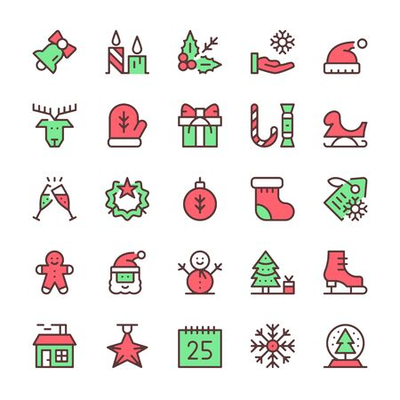 Christmas line icons set. Outline symbols. Thin line design. Traditional red and green colors. Vector icons Çizim