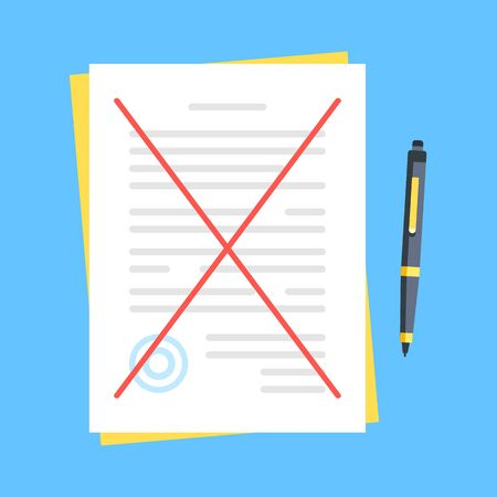 Crossed out document. Break contract, cancelling agreement, rejection concepts. Modern flat design. Vector illustration