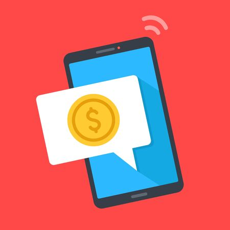 Smart phone with notification and coin on screen. Digital wallet, send, receive money, cashback, online money transferring. Mobile phone and speech bubble. Modern flat design. Vector illustration