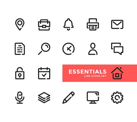 Essential line icons set. Pixel Perfect. Modern outline symbols collection, minimal style simple linear graphic design elements. Vector line icons 向量圖像