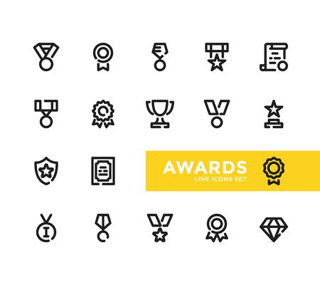 Awards line icons set. Pixel Perfect. Modern outline symbols collection, minimal style simple linear graphic design elements. Vector line icons Ilustrace