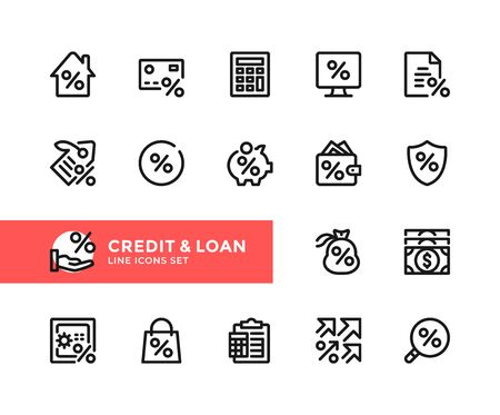 Credit and loan vector line icons. Simple set of outline symbols, graphic design elements. Pixel Perfect