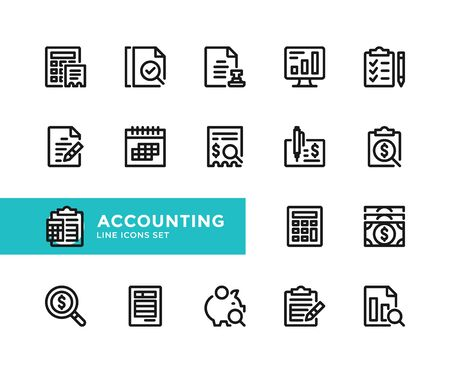 Accounting vector line icons. Simple set of outline symbols, graphic design elements. Pixel perfect 向量圖像