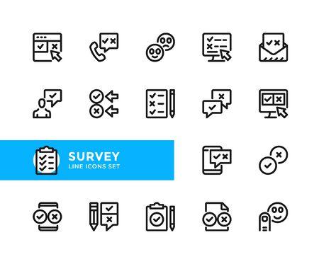 Survey vector line icons. Simple set of outline symbols, graphic design elements. Pixel perfect