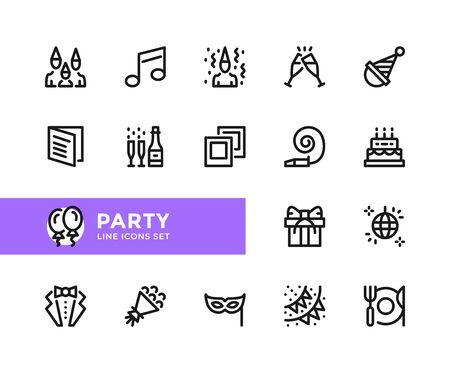 Party vector line icons. Simple set of outline symbols, graphic design elements. Pixel perfect
