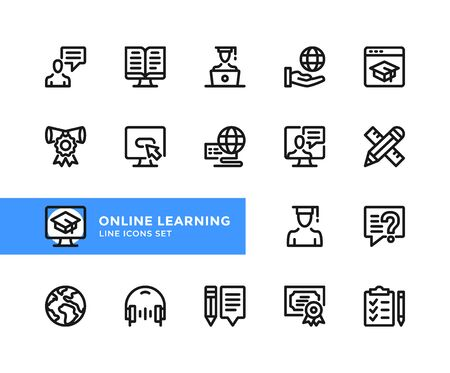 Online learning vector line icons. Simple set of outline symbols, graphic design elements. Pixel perfect 向量圖像